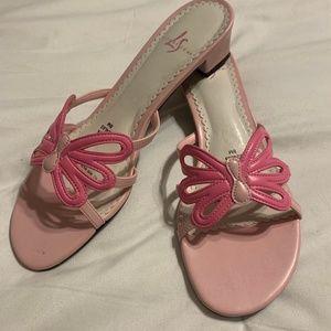 Life Stride pink butterfly kitten block heels Sz 8
